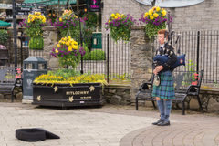 Young traditional Scottish bagpiper Royalty Free Stock Image