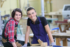 Young trainees in carpentry Royalty Free Stock Image