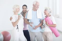 Elderly friends after physical activities royalty free stock photo
