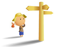 Young tramp make choice on crossroad. Vector illustration of young tramp in hat make choice on crossroad with waymark Vector Illustration