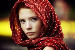 Young tranquil woman outdoors portrait Stock Image