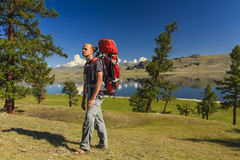 Young traveler with a backpack on the background of the lake Royalty Free Stock Images