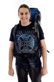 Young traveler with bag pack. Against white background royalty free stock image
