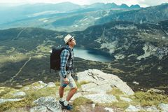 Traveler in the mountains Royalty Free Stock Images