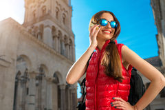 Young traveler in the city Royalty Free Stock Image