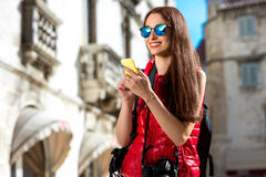 Young traveler in the city Stock Photography