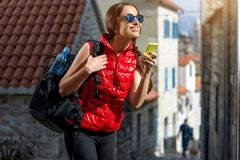 Young traveler in the city Stock Photos