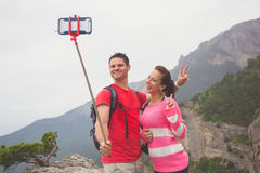 Young traveler couple taking a selfie picture. Stock Photo