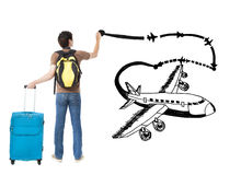Traveler drawing airplane and airline path Stock Image