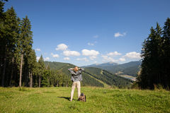 Young traveler. Enjoying mountain view royalty free stock images