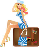 Young traveler girl. Cartoon travellers woman sitting on suitcase Royalty Free Stock Images