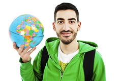Young traveler with globe Stock Image