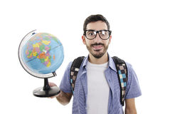 Young traveler with globe Royalty Free Stock Images