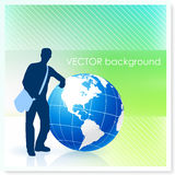 Young Traveler with Globe on Vector Background Royalty Free Stock Photo