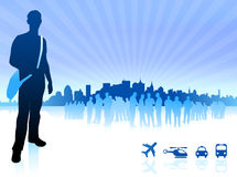 Young traveler internet background with city and transportation Stock Images