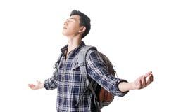 Young traveler man feel free Royalty Free Stock Photo