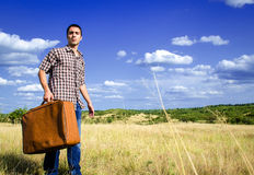 Young traveler in middle of nowhere stock image