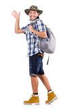 Young traveler with rucksack isolated on white Royalty Free Stock Images