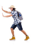 Young traveler with rucksack isolated on white Royalty Free Stock Photos