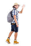 Young traveler with rucksack isolated on white Stock Photo