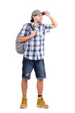 Young traveler with rucksack isolated on white Stock Photography