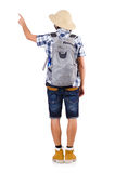 Young traveler with rucksack isolated on white Royalty Free Stock Photography
