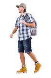 Young traveler with rucksack isolated on white Royalty Free Stock Image