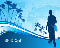 Young traveler with tropical world map Stock Photography