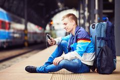 Young traveler stock image
