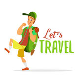 Young traveler walking with big backpack. Royalty Free Stock Images
