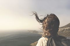 Traveler woman looking the spectacular view royalty free stock image