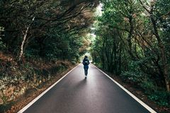 Young traveler woman walking on the road and forest background stock photos