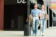 Travelers in airport royalty free stock image