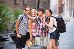 Young travelers doing selfie Stock Image