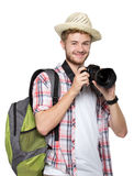 Young traveling man taking a picture Stock Images