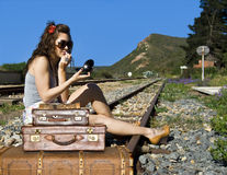 Young traveling woman Stock Photos