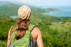 Young traveling woman with backpack. focus on traveller Stock Image
