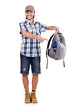 Young traveller with backpack isolated on white Royalty Free Stock Photo