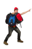 The young traveller with backpack isolated on Royalty Free Stock Images