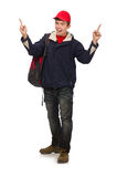 The young traveller with backpack isolated on Stock Photography