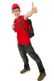 The young traveller with backpack Stock Photos