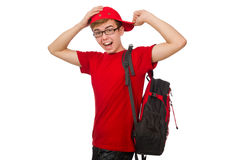 The young traveller with backpack Royalty Free Stock Image