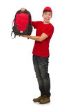 The young traveller with backpack Royalty Free Stock Photography