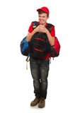 The young traveller with backpack Stock Photo