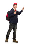 The young traveller with backpack Stock Photography