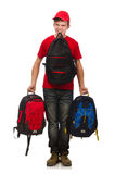 Young traveller with backpack isolated on white Stock Images
