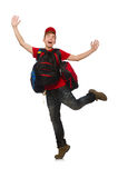 Young traveller with backpack isolated on white Royalty Free Stock Image