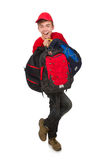 The young traveller with backpack isolated on Stock Images