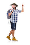 Young traveller with backpack pointing isolated on Royalty Free Stock Photos