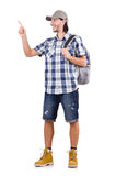 Young traveller with backpack pressing virtual. The young traveller with backpack pressing virtual button isolated on white Royalty Free Stock Photo